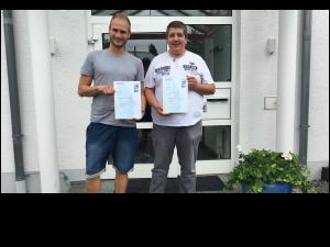 Dennis Brinkmann und Wolfgang Keßler haben ihren KNX-Lehrgang erfolgreich abgeschlossen - Herzlichen Glückwunsch